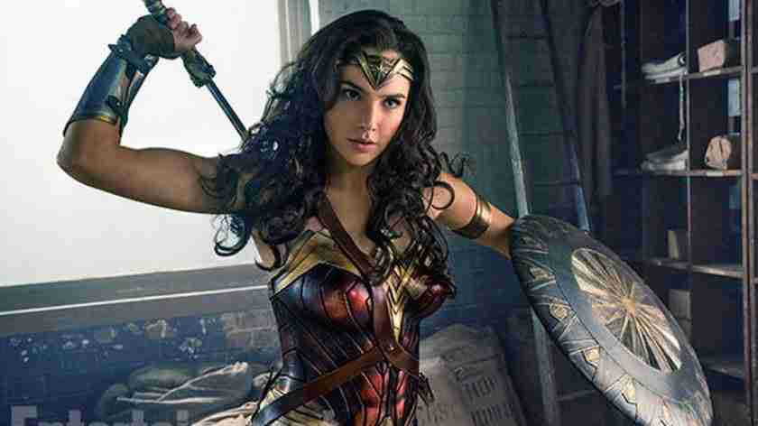 Diana as the Wonder Woman in the sci fi movie