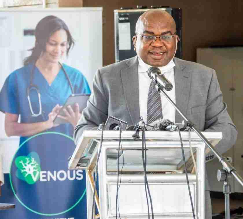 Dr Chitalu Chilufya launching Venous