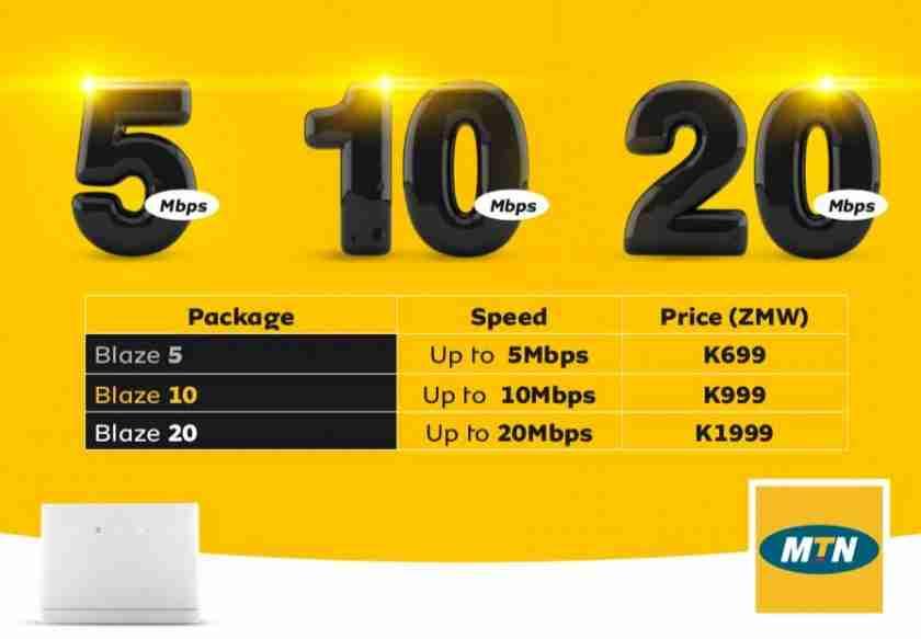 MTN offers Blaze unbundled internet with speeds of upto 20mbps